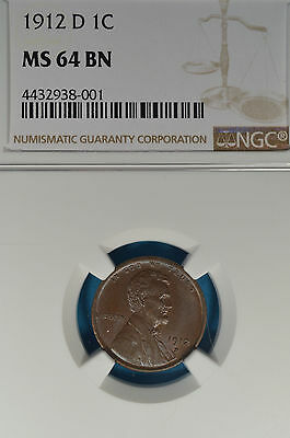 1912-D Lincoln Wheat Cent NGC MS64BN- Nice Strike, Patina, Eye Appeal