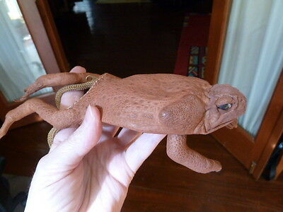 "(EL1000-31) 9"" EXTRA LARGE CANE TOAD body Necklace Australia WEIRD hide toads"