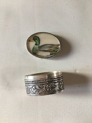 antique solid silver pill box
