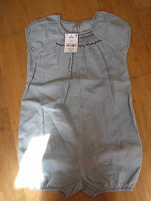BNWT Girls Age 3-4 Next Chambray Blue Romper Playsuit.