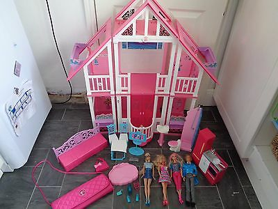 barbie doll bundle-california dream house,4 x dolls,bag, furniture/+accessories