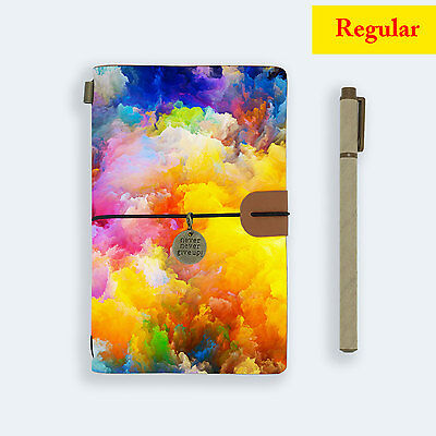Genuine Leather Journal Travel Diary Travelers Regular Size Abstract Smoke