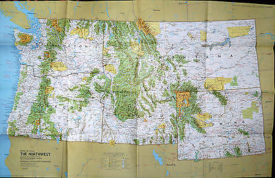 Vintage National Geographic map March 1973: USA, The North West: double sided