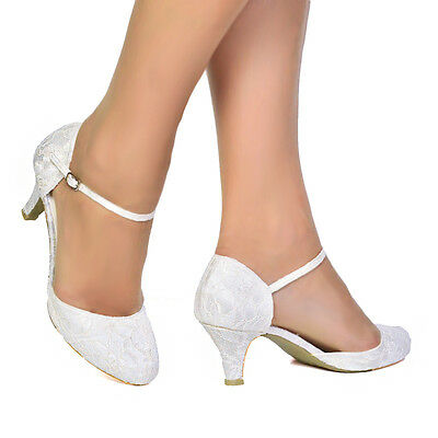 Womens Ivory Satin & Lace Low Heel Mary Jane Bridal Wedding Shoes Size 3 - 9 Uk