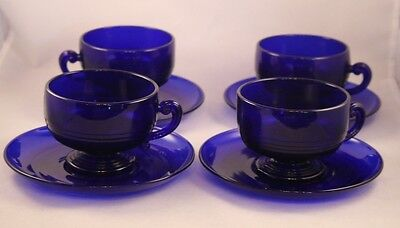 4 Cambridge TALLY HO Cobalt Blue Cups and Saucers Excellent Condition