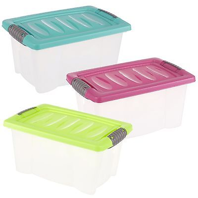 Set of 3 Small Plastic Storage Boxes Click Lid Desktop Shelf Container Tubs Home