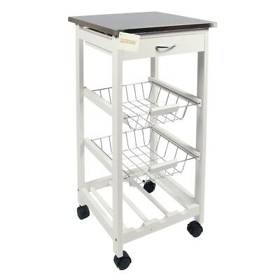 Stainless Steel Top Kitchen Trolley Storage Cart W/Shelve, Drawer & Wine Rack