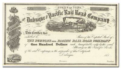 Dubuque and Pacific Rail Road Company Stock Certificate