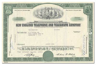 New England Telephone and Telegraph Company Stock Certificate