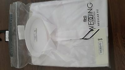 New Mens White Formal Wedding/evening Shirt With Wing Collar 16""