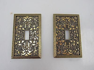 2 Vintage Brass Filigree Hollywood Regency Light Switch Plate Covers H633J