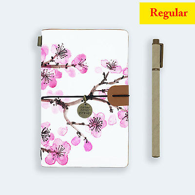 Genuine Leather Journal Travel Diary Travelers Regular Size Pink Flower