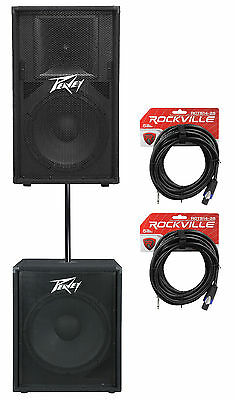"""Peavey PV115 15"""" 800w PA Speaker+ PV118 18"""" Subwoofer + Pole + Cable PV 115+118"""