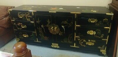 Vintage ASIAN Oriental CHINESE Black & Painted TV Cabinet Dresser Buffet Chest