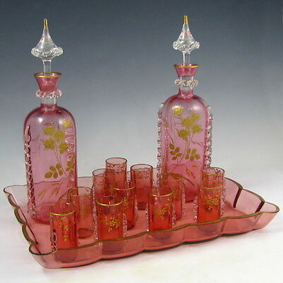 Antique French Pink Crystal Raised Gold Enamel Liquor Set Decanters Cordials