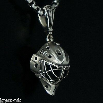 NEW exact copy GOALIE MASK charm pendant ice hockey champion sterling silver