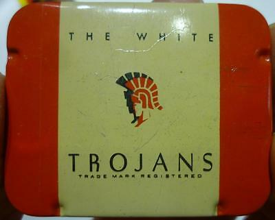 #2 Vintage Empty Metal Tin for The White Trojans Condoms #2.
