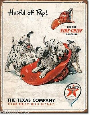 Texaco Hatful of Pep Fire Chief TIN SIGN vintage advertising wall art metal 1928
