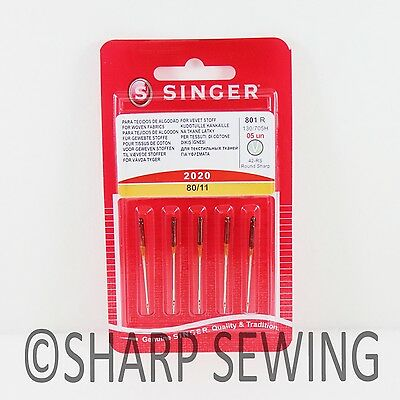 5 Singer 2020 Home Sewing Machine Needles Size #11/80 15X1 Hax1 130/705H