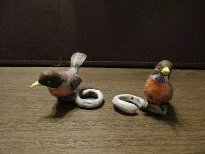 Pair of Vintage Taper Candle Holder - Robins on a limb - Red Breasted Bird