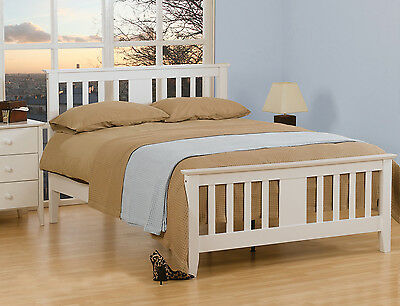 Sussex White / Oak Solid Wooden Bed Frame Various Sizes