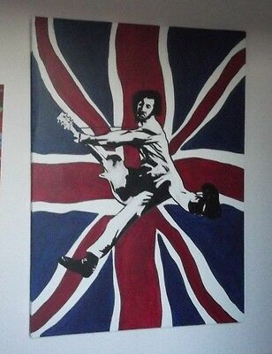 THE WHO, PETE TOWNSHEND  ,.HAND PAINTED canvas 20 X 16  INS..READY TO HANG MOD