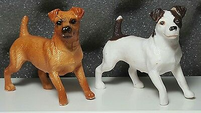 Lot of 2 Breyer Reeves Companion Animal Tan & Tan/White Jack Russell Terriers