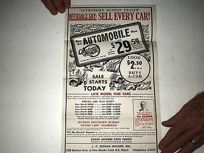 Antique Hudson Auto Dealer Flyer/bednar Motors/boston Ave/bridgeport,ct