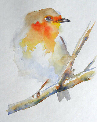 Original Watercolour Painting of a Robin, A4, c