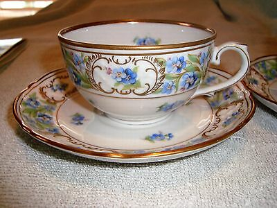 Schumann Fine Bavarian China Forget-Me-Not pattern cup and saucer sets