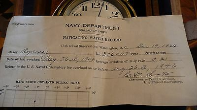 WW2 US Navy Agassiz Ships Chronometer Double Boxed with 1944 Navy Timing Sheet