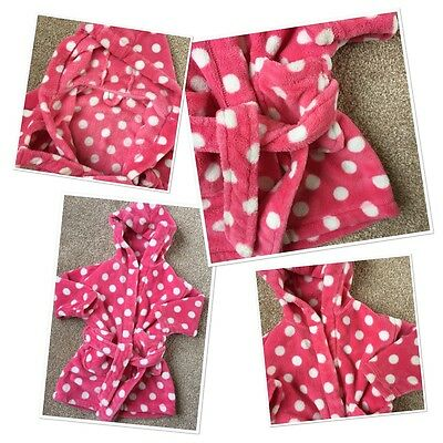 Next Baby Girls Polka Pink Hooded Dressing Gown 12-18 Months