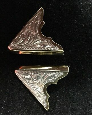 South Western Pair Of Silver and Gold Tone Etched Design Screw In Collar Tips