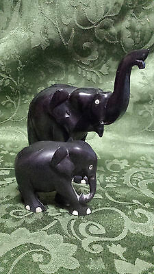 "Pair Of Vintage Hand Carved Ebony Wood Elephants 7"" & 3"""