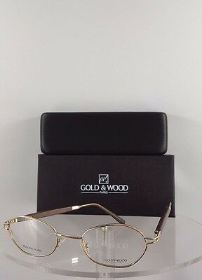 9428a5f783e6 Brand New Authentic Gold and Wood 361 6 1424 Rimless Eyeglasses Brown Gold  Frame
