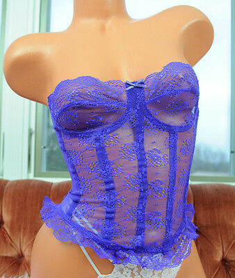 VTG Victoria's Secret Purple Strapless Fancy Lace Camisole Bustier Top sz 32