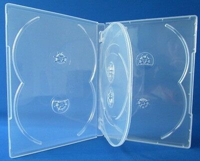 10 Premium Clear Multi hold 6 Discs DVD CD Cases, Standard 14mm, 6C