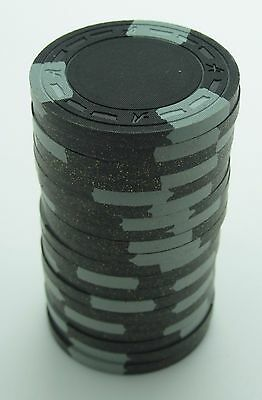 """Set of 20 ASM Casino Style """"A"""" Mold Clay Chips Black/Gray Inserts FREE SHIP"""