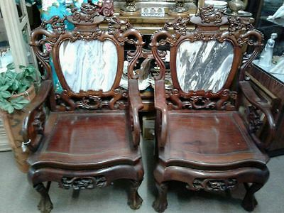 Chinese ANTIQUE Rosewood Chairs / marble backs - heavy-no shipping can deliver