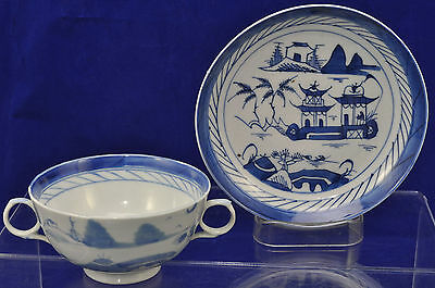 Set of 4 Antique Canton Blue & White Chinese Porcelain Cream Soups