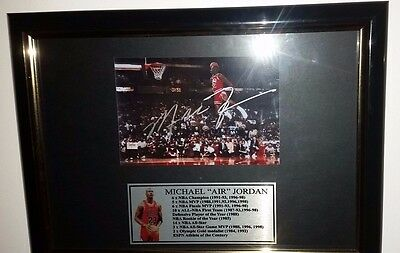 Hand Signed By Michael Jordan - With Coa Rare Framed Autographed 5X7 Photo