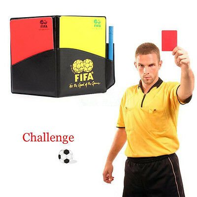New Soccer Referee Wallet Football Red card Yellow Card Pencil Log Book