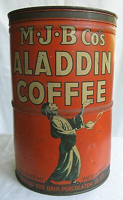 "Vintage Mjb Aladdin Coffee Can Tin Advertising 8 & 1/2"" Tall 3 Lb Can"