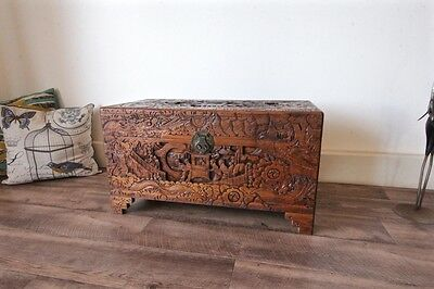 Large Antique Carved Camphor Wooden Chest Storage Blanket Box, 73.5cm Width