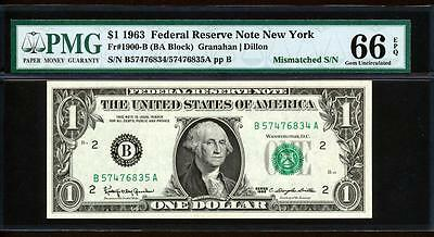 "1963 $1 MISMATCHED SERIAL# ERROR ""NEW YORK"" PMG GEM UNCIRCULATED 66EPQ Fr.1900-B"