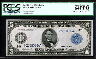 "Fr.874 1914 $5 ST.LOUIS ""BURKE-HOUSTON"" PCGS VERY CHOICE NEW UNCIRCULATED 64PPQ"