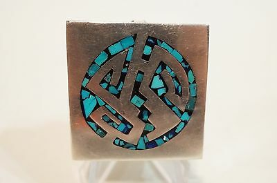 Pill Box Sterling Silver 925 Vintage Inlaid Turquoise HEAVY 30.2 Grams