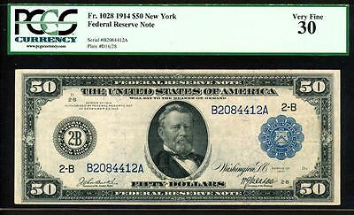 "Fr.1028 1914 $50 NEW YORK ""BURKE-McADOO SIGNED"" FRN + PCGS VERY FINE 30 RARE"