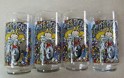 1981 McDonald's The Great Muppet Caper Glass Cup Miss Piggy set of 4