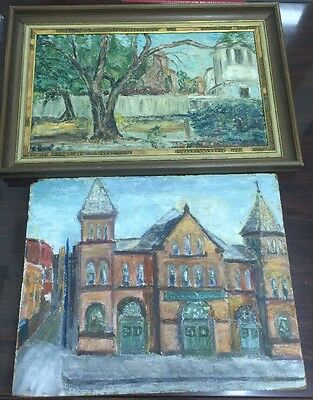 2 Large Old Antique Oil On Board Paintings, Signed By The Same Artist